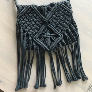 Mossimo Black Fringe Crochet Boho Crossbody Bag